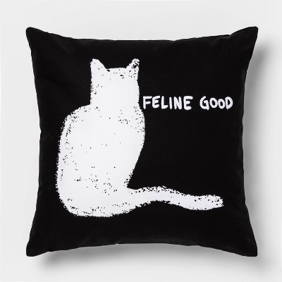 Feline Good  Square Throw Pillow Black/White - Room Essentials™