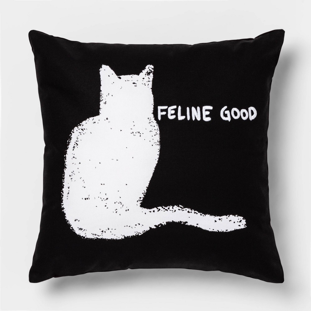 Image of 'Feline Good' Square Throw Pillow Black/White - Room Essentials