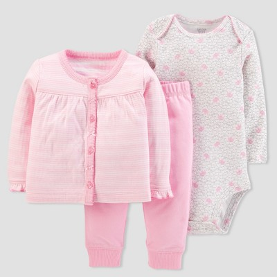 Baby Girls' 3pc Stripe Cardigan Set - Just One You® made by carter's Pink 6M