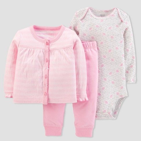 Baby Girls' 3pc Stripe Cardigan Set - Just One You® made by carter's Pink - image 1 of 2