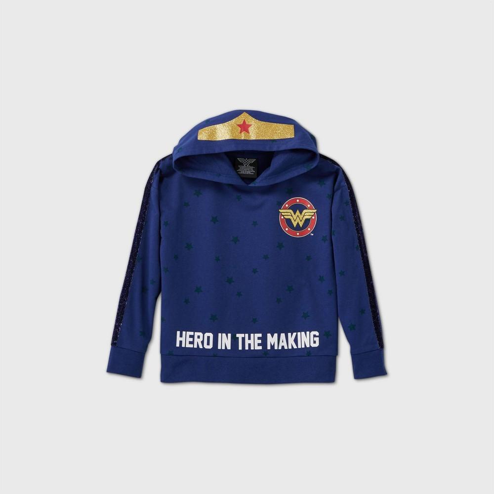 Girls 39 Wonder Woman 39 Hero In The Making 39 Hooded Sweatshirt Blue M Plus