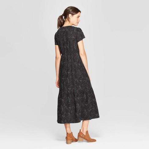 a034be2216d2a Women's Short Cap Sleeve V-Neck Midi Dress - Universal Thread™ Black ...