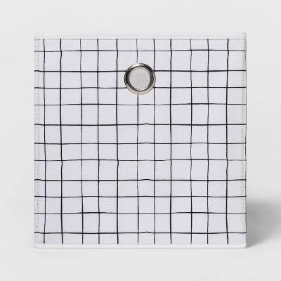"11"" Fabric Cube Storage Bin White/Black - Room Essentials™"