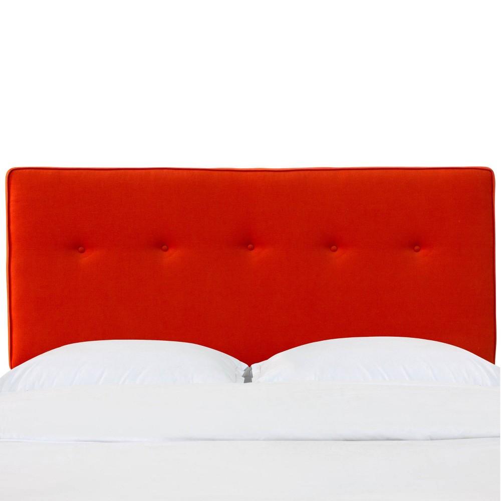 Full Five Button Headboard in Newport Atomic Red - Skyline Furniture