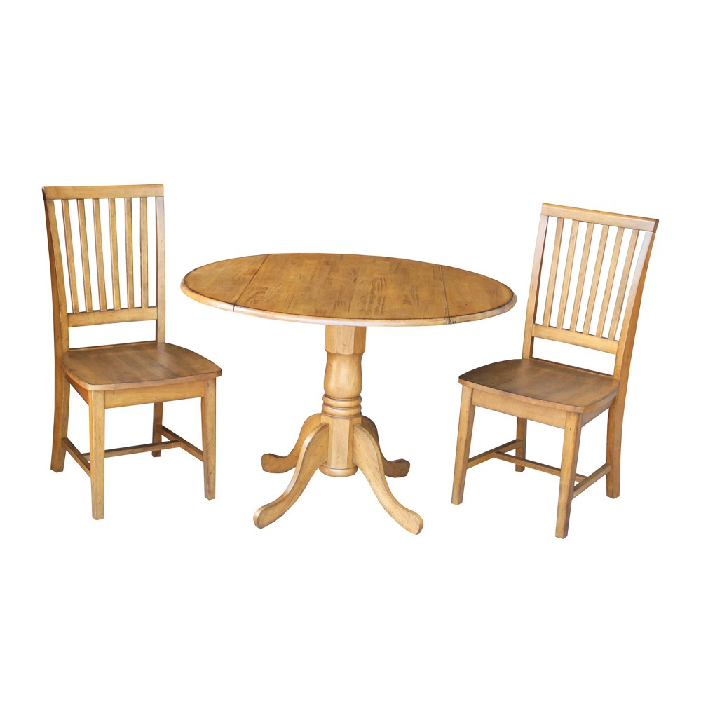 42 Set of 3 Dual Drop Leaf Table with 2 Mission Chairs Brown - International Concepts