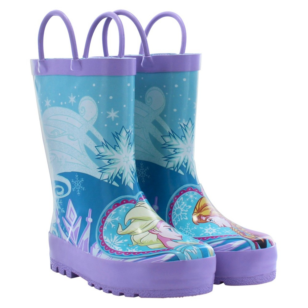Toddler Girls' Frozen Anna & Elsa Rain Boots - Blue 12