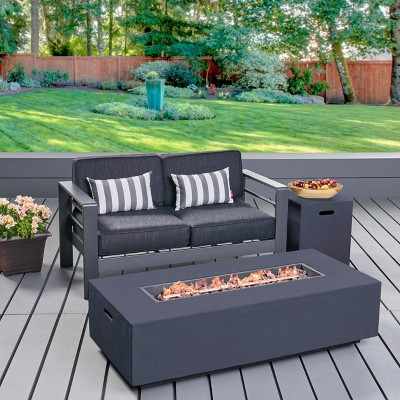 Cape Coral 3pc Aluminum and Rectangular Light Weight Concrete  Fire Table Set - Christopher Knight Home