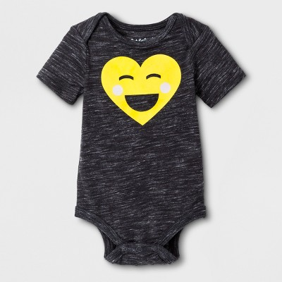 Baby Emoji Bodysuit - Cat & Jack™ Black 6-9M