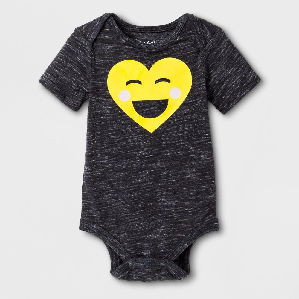 Baby Emoji Bodysuit - Cat & Jack Black 3-6M, Infant Unisex