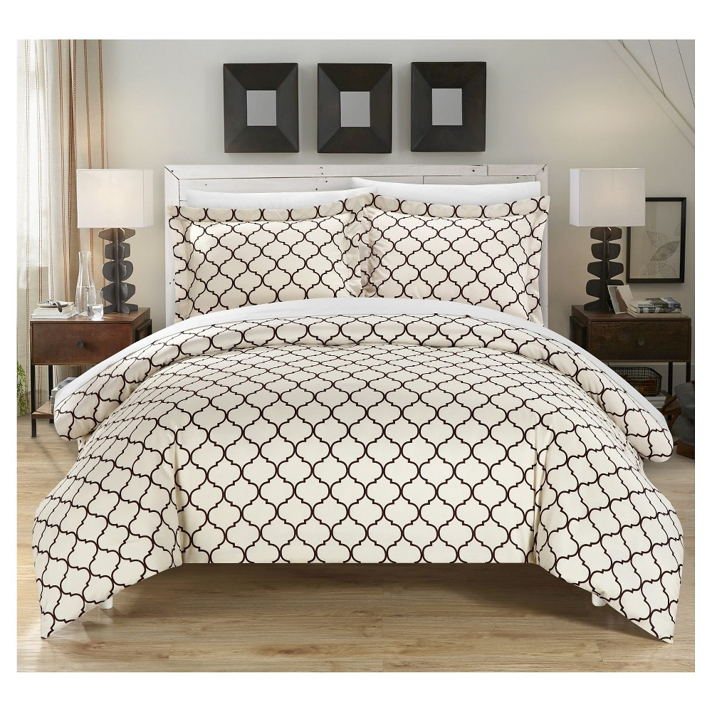 Finlay Geometric Diamond Printed Reversible Duvet Cover Set 6 Piece (Twin) Brown - Chic Home Design