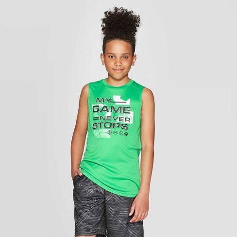 Boys' Graphic Sleeveless Tech T-Shirt My Game Never Stops - C9 Champion® Green - image 1 of 3