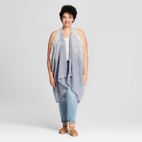Women's Plus Size Striped Vest Kimono Jackets - Universal Thread™ Chambray - image 1 of 2