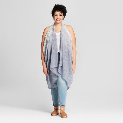Women's Plus Size Striped Vest Kimono Jackets - Universal Thread™ Chambray - image 1 of 2