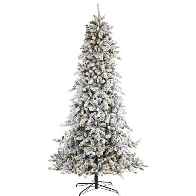 9ft Nearly Natural Pre-Lit LED Flocked Full Livingston Fir with Pinecones Artificial Christmas Tree Clear Lights