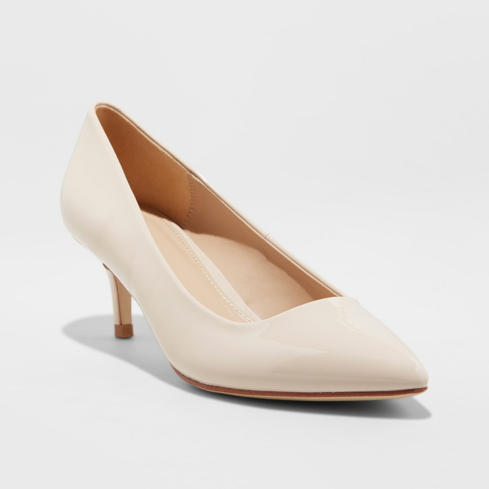 Women's Dora Faux Leather Patent Kitten Pointed Toe Pump Heel - A New Day Taupe (Brown) 6.5