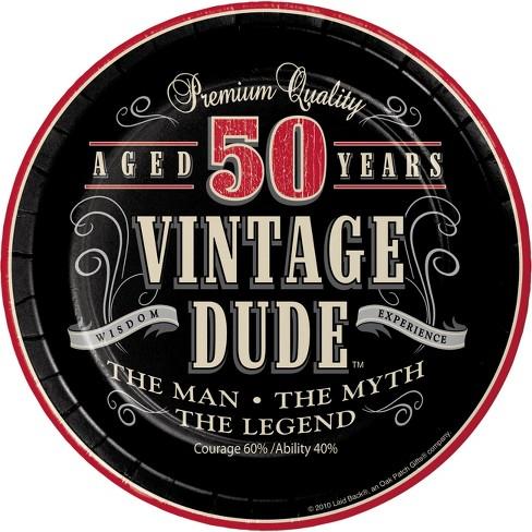 24ct Vintage Dude 50th Birthday Dessert Plates Black