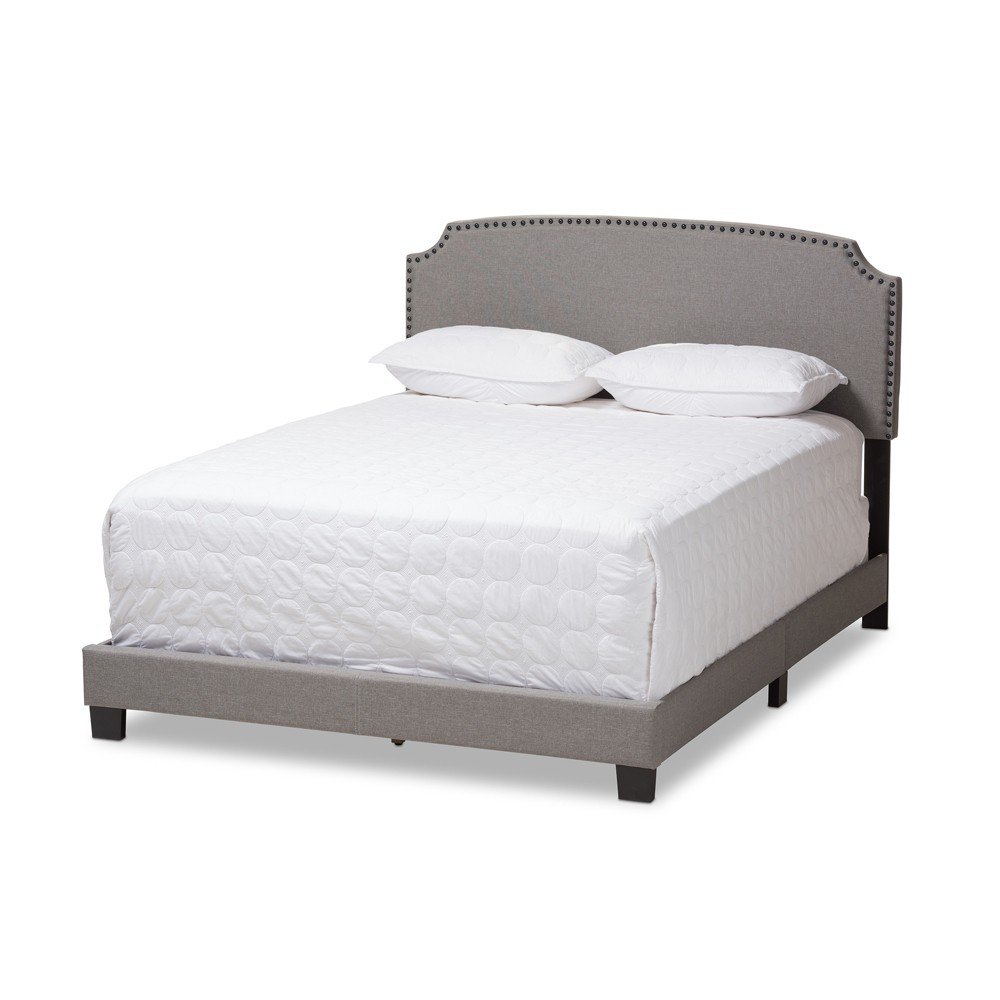 Queen Odette Modern and Contemporary Fabric Upholstered Bed Light Gray - Baxton Studio