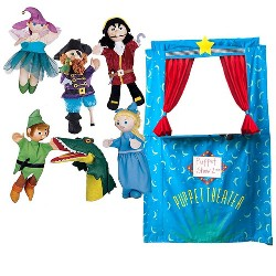 Six Puppets plus Doorway Theater Special for Kids Pretend Play - HearthSong