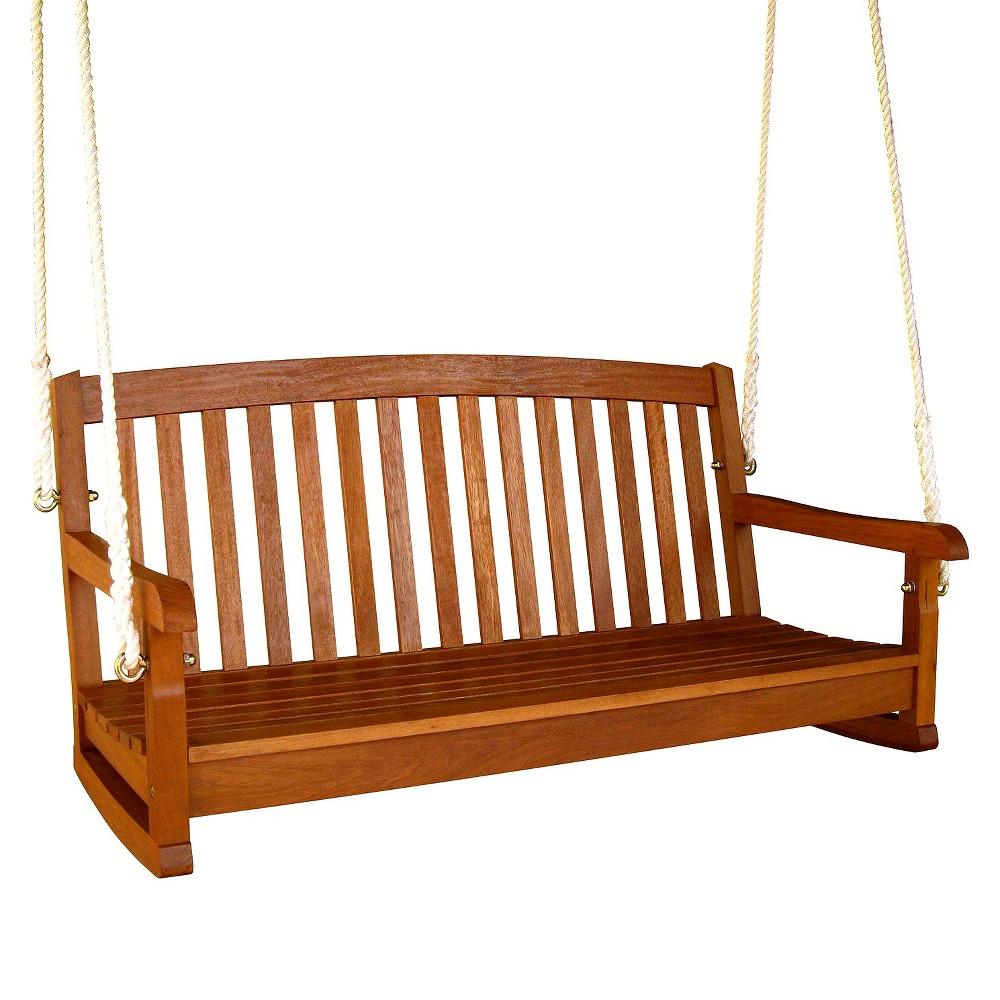 Image of Royal Tahiti Shorea Wood 3-Seater Porch Swing - International Caravan