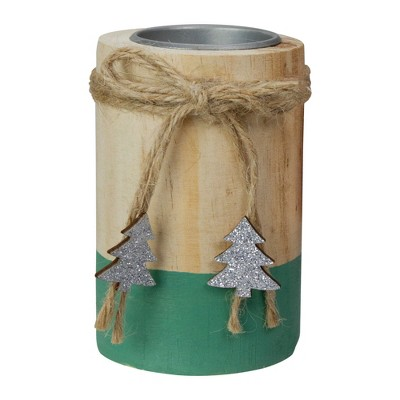 "Northlight 4"" Green and Natural Wood Christmas Tea Light Candle Holder"