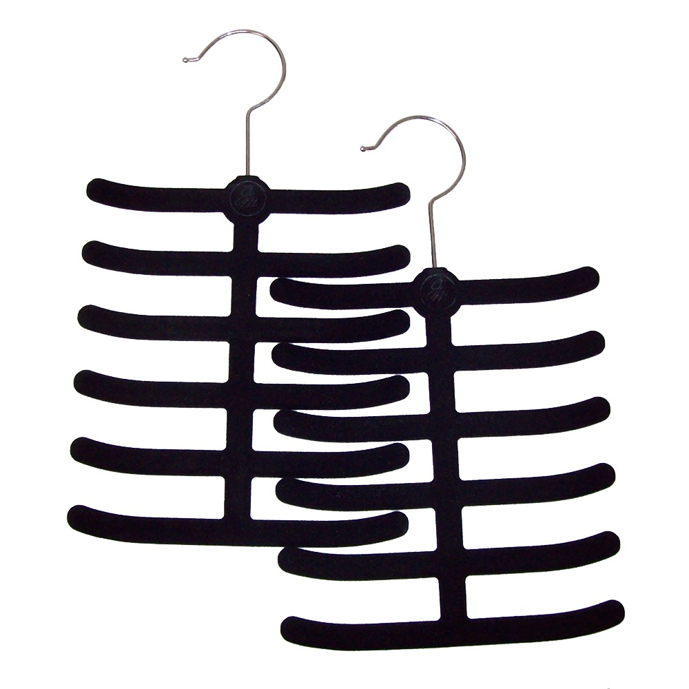 Huggable Hangers 2pc Tie and Belt Hangers - Black Keeping accessories organized can be quite a task but not if you have the Huggable Hangers 2pc Tie and Belt Hangers. It is ideal to hang your belts, ties and stoles to keep them handy in your closets; meaning, you'll never lose your accessories in your wardrobe ever again. The set comes with 2 hangers and features multiple branches to stack many accessories together with great ease. Color: Black. Pattern: Solid.