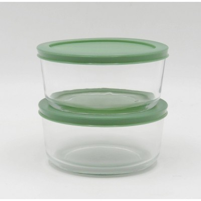 4 Cup 2pk Round Glass Food Storage Container Set Light Green - Room Essentials™