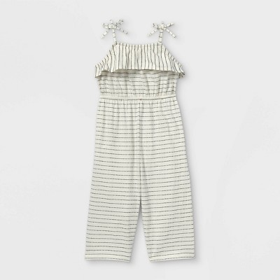 Toddler Girls' Striped Tank Jumpsuit - art class™ Cream/Black