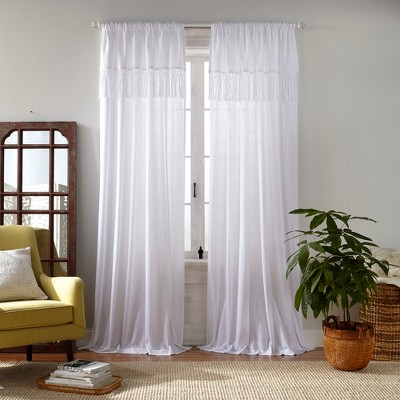 Calypso Macramé Tassel Semi Sheer Window Curtain Panel - Elrene Home Fashions
