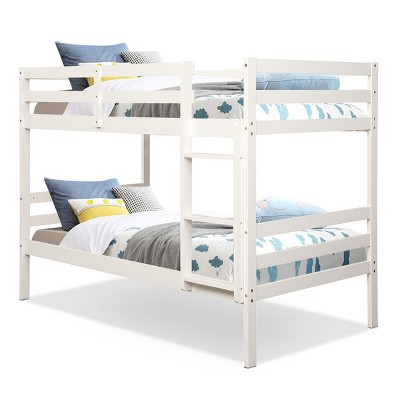 Costway Twin Over Twin Wood Bunk Beds Ladder Safety Rail EspressoWhite