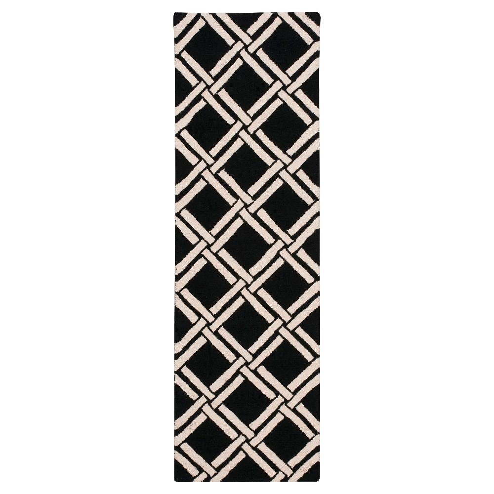 """Image of """"Nourison Diamond Lattic Linear Accent Rug - Black/White (2'3""""""""X7'6"""""""" Runner)"""""""