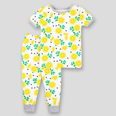Lamaze Baby Girls' 2pc Lemon Organic Cotton Short Sleeve Pajama Set - Yellow