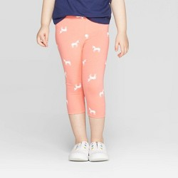 412d4b38 Toddler Girls' Unicorn Printed Capri Leggings - Cat & Jack™ Peach
