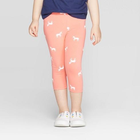 Toddler Girls' Unicorn Printed Capri Leggings - Cat & Jack™ Peach - image 1 of 3