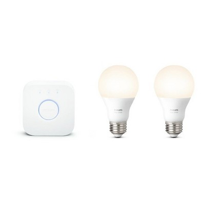 Philips - Hue 2pk A19 60W White LED Equivalent Wireless Starter Kit