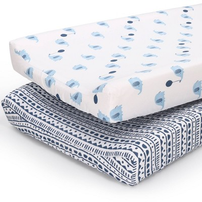 The Peanut Shell Changing Pad Cover - Blue Elephant/Navy Geometric 2pk