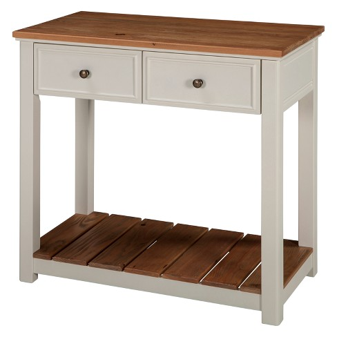Savannah 30 W 2 Drawer Console Table Ivory With Natural Wood Top Bolton Furniture
