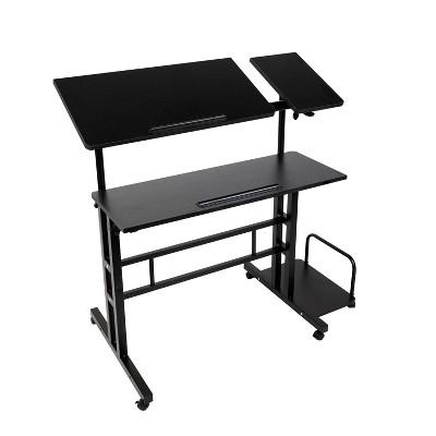 Black Rolling Sitting/Standing Desk with Side Storage - Mind Reader