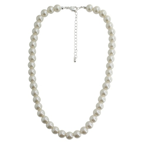 "Short Pearl Necklace - 18"" - Silver/White - image 1 of 1"