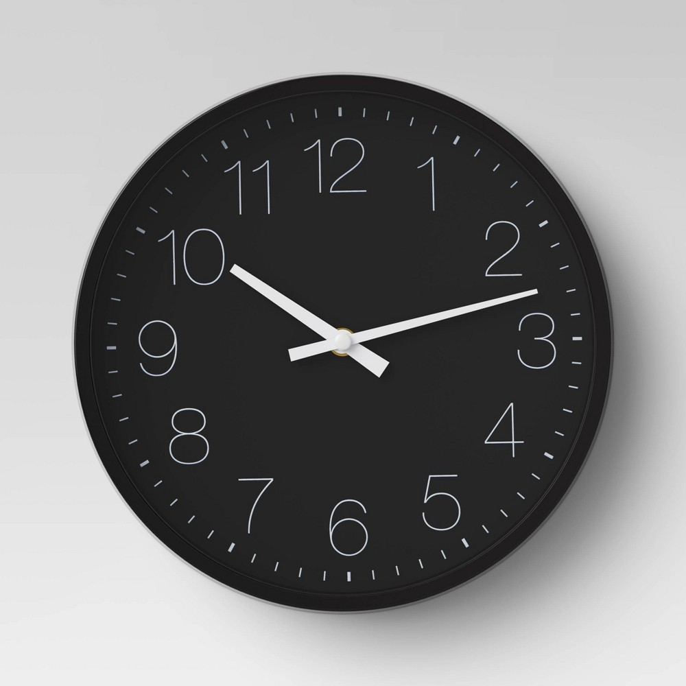 10 Round Wall Clock Black Project 62 8482