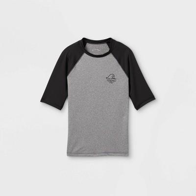 Boys' Raglan Wave Short Sleeve Rash Guard Swim Shirt - art class™