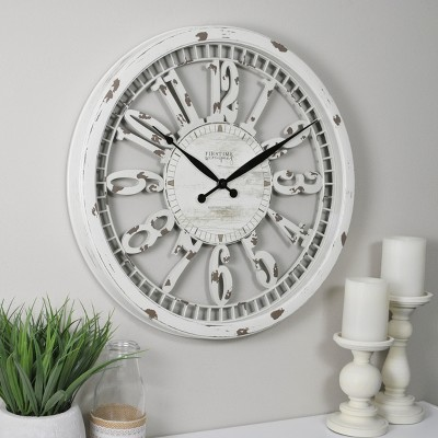 "20"" Whitney Farmhouse Wall Clock Antique Cream - FirsTime & Co."