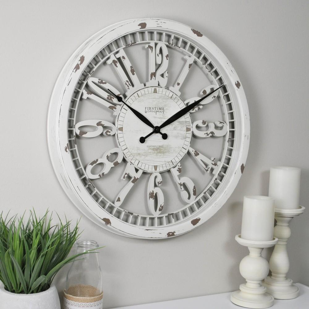 20 34 Whitney Farmhouse Wall Clock Antique Cream Firstime 38 Co