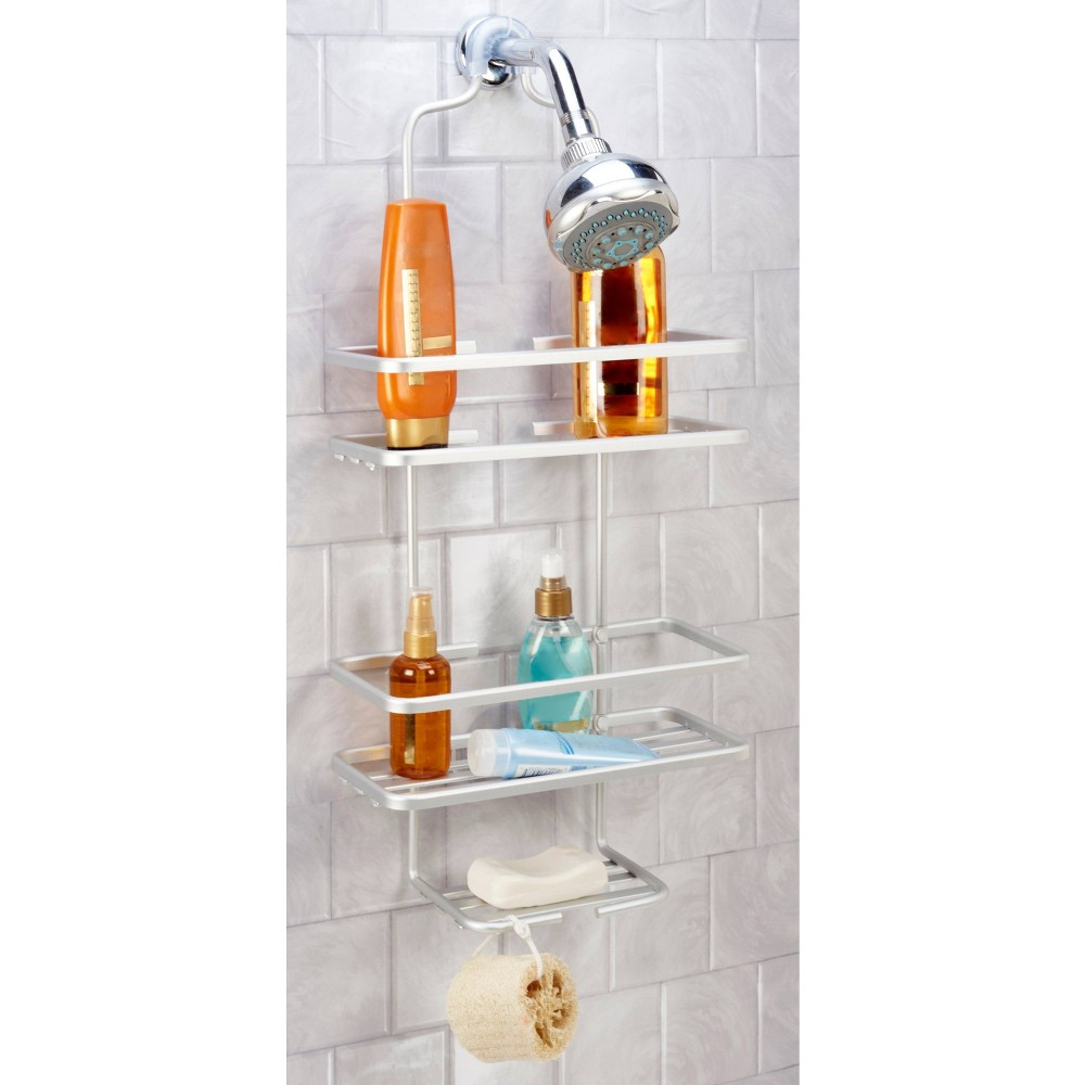 Image of Flat Wire Shower Caddy Aluminum - Bath Bliss, Silver