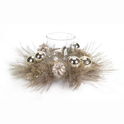 """Melrose 14"""" Ball Ornament, Holly and Pine Cone Christmas Candle Holder - Champagne Gold - image 1 of 1"""