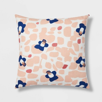 Floral Print with Embroidery Square Throw Pillow Blush/Blue - Room Essentials™