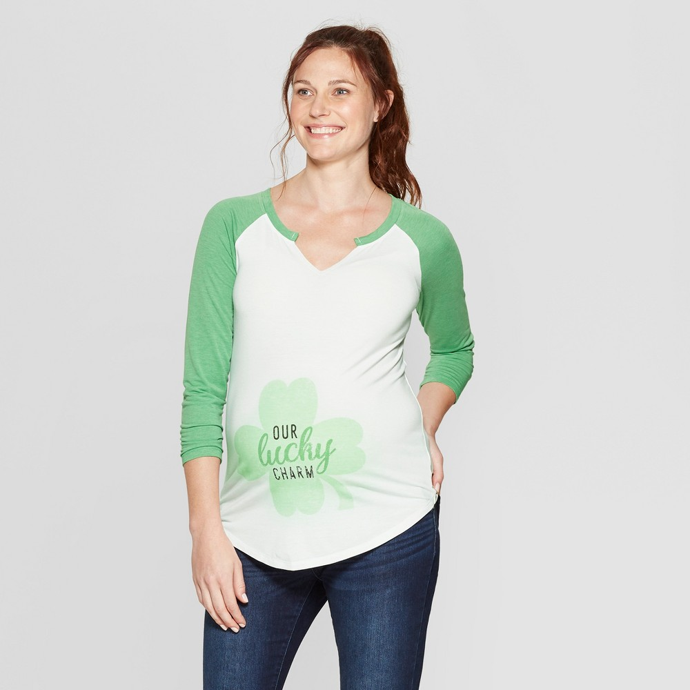 Maternity 3/4 Sleeve Notch Neck Our Lucky Charm Graphic T-Shirt - Isabel Maternity by Ingrid & Isabel White M, Women's
