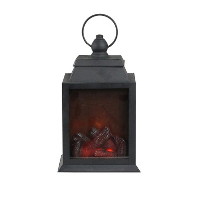 """Diva At Home 10"""" LED Lighted Black Lantern with Faux Fire Christmas Decoration"""