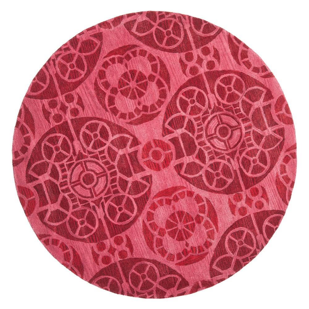 7' Medallion Tufted Round Area Rug Red - Safavieh