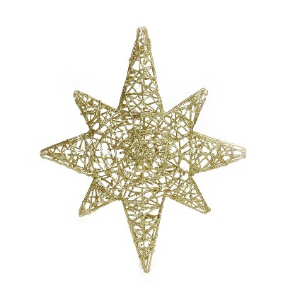 "Brite Star 20"" LED Lighted Gold 3D Star of Bethlehem Hanging Christmas Decoration"