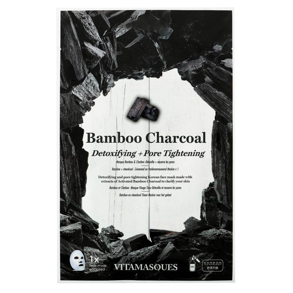 Image of Vitamasques 3 in 1 Bamboo Charcoal Sheet Mask - 0.68 fl oz